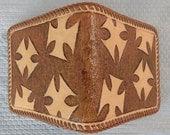 Hand Carved Leather Billfold Wallet w/ Maltese Crosses