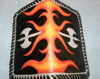 Hand Carved Leather Wallet or Business Card Holder