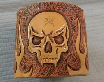 Leather Tooled Skull and Flames Bracelet