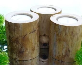 Log Tealight Candle Holders,  Set of three