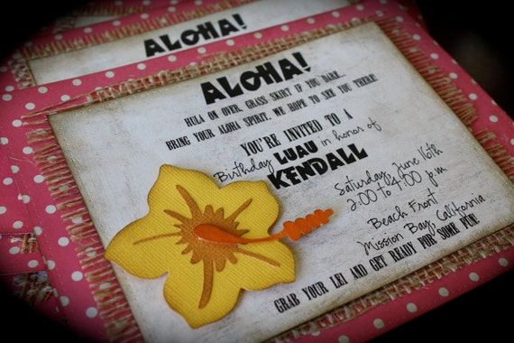 ALOHA....Hawaiian Luau Party Invitation