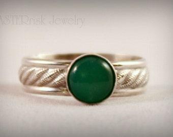 Ring - Green Chrysoprase Gemstone Sterling Silver