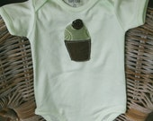 RESERVED FOR NICOLE - Little ChocMint Clothcake on Mint Green Onesie (6-12months)