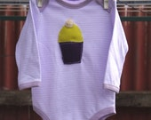 RESERVED FOR NICOLE - Lime and Purple Clothcake on Lilac and White Striped Onesie 4-8 months