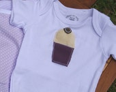 RESERVED FOR NICOLE - Lavender Cream on White Striped Onesie 6-12 months