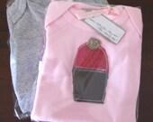 CUSTOM for Rebecca - Chocolate Cherry Ripe Clothcake on Pink Onesie