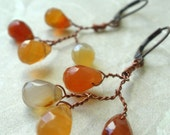 Faceted Carnelian Autumn Leaves Branch Earrings