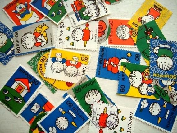 Japanese Postage Stamp set of 10 - Dick Bruna