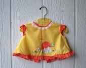 1970s Vintage BIRDIE Embroidered Ruffle Baby Girl Dress (newborn to 3 months)