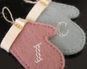 FREE SHIPPING - CUSTOM mini mitten - Hand Embroidered - Please choose your color and alphabet -