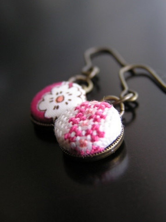 Hand embroidery & LIBERTY earrings (small)