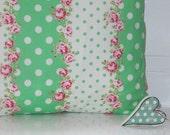 Polka Dot and Flowers Printed Cushion - 1950's Style Pillow - Green & White Polka Dot Pillow