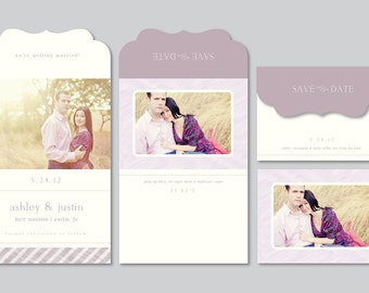 SALE! Modern Save the Date Photography Template - 5x7 Luxe Card (digital PSD files) - s0025 - Wedding Photography Photoshop Template