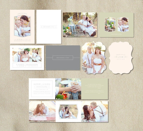Sale! Wedding Photography Save the Date Templates - Engagement Announcement - Vintage Photographer Templates - s0022 -