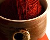 Pottery yarn bowl - knitting yarn with sun and moon design