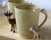ON SALE - One spicy chai latte mug - stoneware pottery mug glazed in yellow