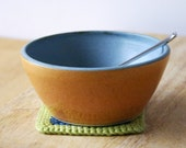 For bananeanne Two pumpkin orange and blue bowls - hand thrown pottery dish
