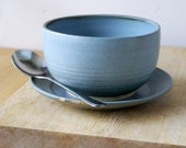 Sandwich plate and soup bowl set - handmade and glazed in smokey blue