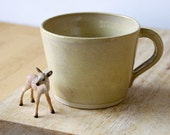 One frog mug - wheel thrown stoneware pottery in pepper yellow