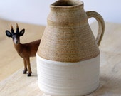 Tall pottery pouring jug glazed in natural brown - wheel thrown stoneware ceramics
