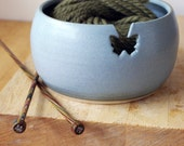 For Mandy - pottery yarn bowl with butterfly hook for your wool glazed in smokey blue