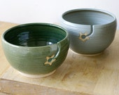 For Stefaniekharding - Set of two pottery yarn bowls in forest green and smokey blue