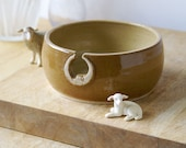 SALE - The sun and moon hand thrown pottery yarn bowl - glazed in golden yellows