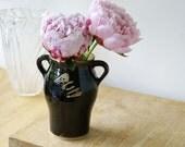 SALE - Greek style handmade pottery vase in black - hand thrown stonware pottery