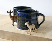 Set of two handmade tea mugs - stoneware pottery mugs glazed in midnight blue