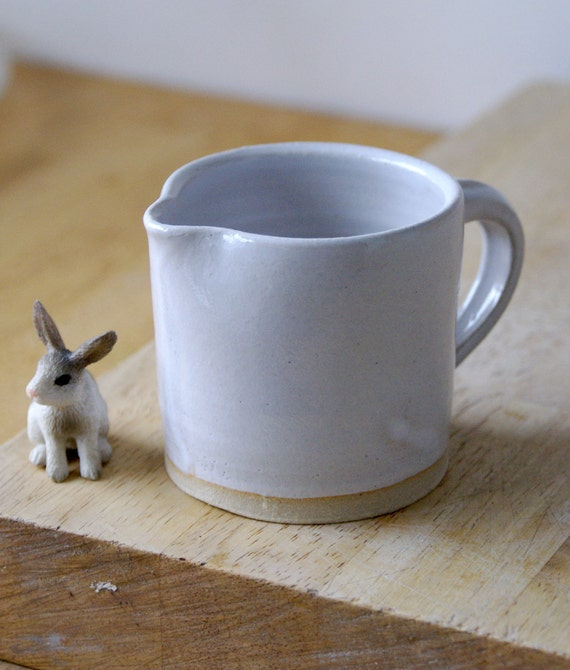 Teeny cafe style pouring jug for milk - hand thrown in stoneware and glazed in white