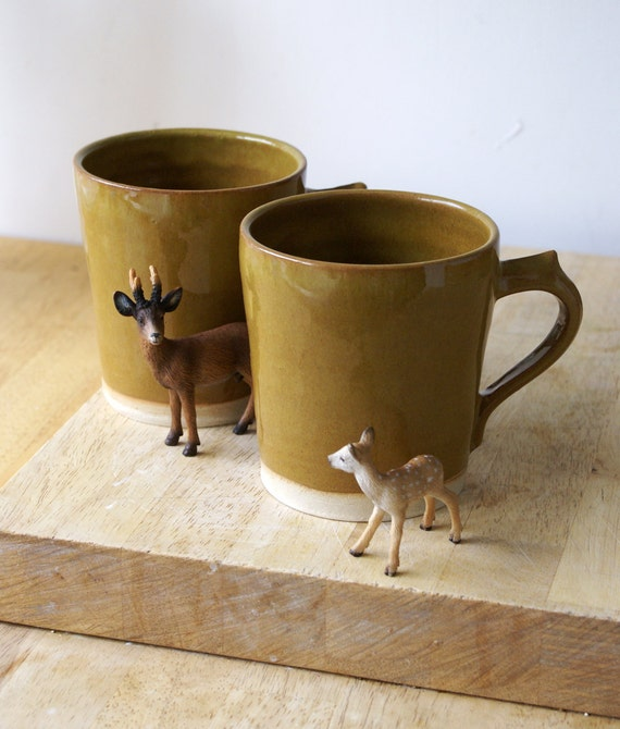 Two spicy chai latte mugs - stoneware pottery mugs glazed in copper penny