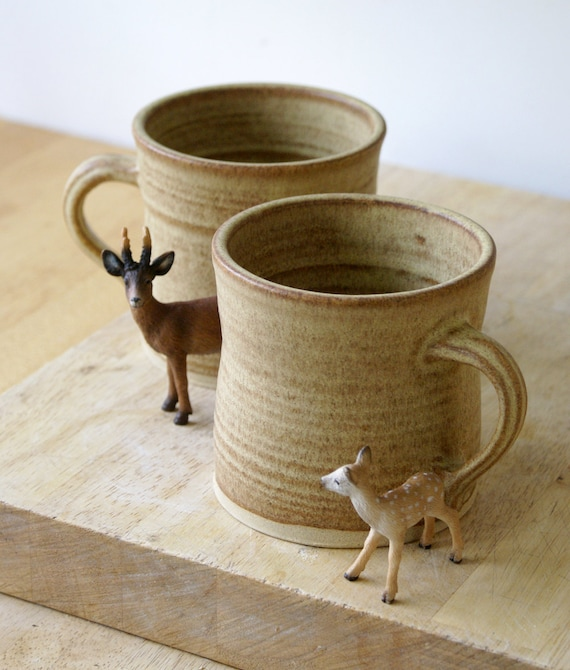 Set of two handmade tea mugs - stoneware pottery mugs glazed in natural brown