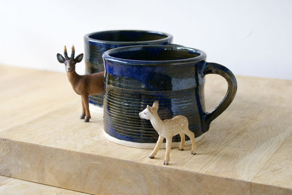 Set of two handmade tea mugs - stoneware pottery mugs glazed in midnight blue