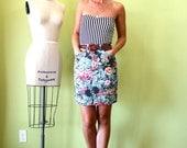 Printed floral denim high waist mini pencil skirt sm
