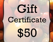 Organic Seed Gift Certificate Fifty Dollars