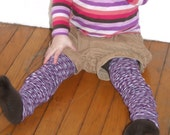 Purple Patterned Children's Leg Warmers- One Size Fits Most