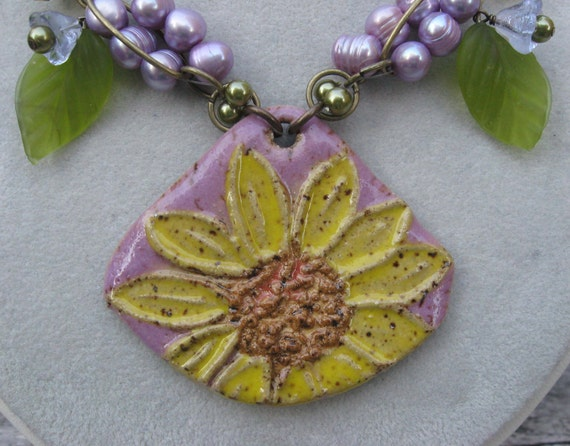 Sunflower 'N Berries Necklace