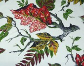 Vintage fall red and gold leaves home dec fabric 2 yards