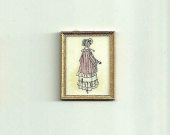 Miniature French Fashion Print - in 12th scale