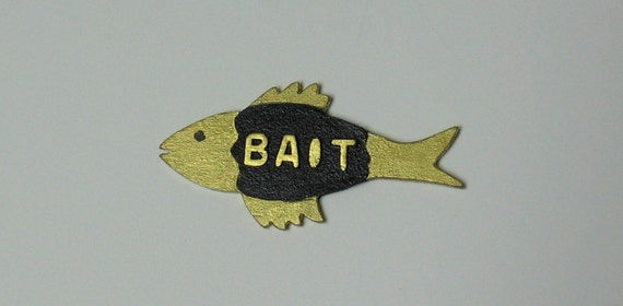 "Fish ""BAIT"" sign for your dollhouse or room box - 1/12th scale"