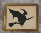 Framed Handpainted Witch Silhouette for Halloween