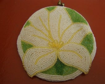 Vintage Beaded Daffodil Coin Purse