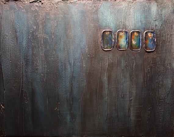 "Abstract Mixed Media Painting-""Tetrad"""