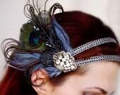 Lulu - Vintage Art Deco Rhinestone Peacock Fascinator Headdress / Band
