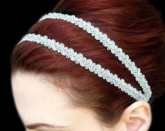 Silver Headband Grecian Goddess Double Strand Greek Hair Wrap