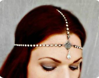 Art Deco Headpiece - Rhinestone Headdress - Flapper Head Piece - Vintage Headdress - Wedding Headpiece - Vintage Wedding