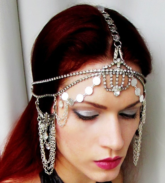 Vintage Art Deco Rhinestone One of a Kind Headpiece Headdress by Rose of the Mire