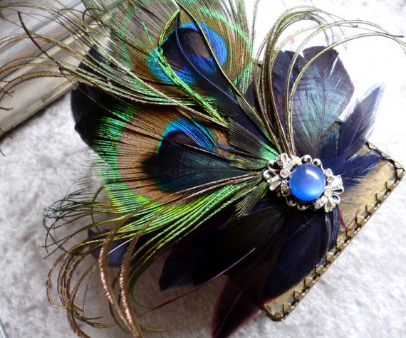Peacock Feather Fascinator Headdress Hair Piece Vintage Blue Moonstone - One of a Kind