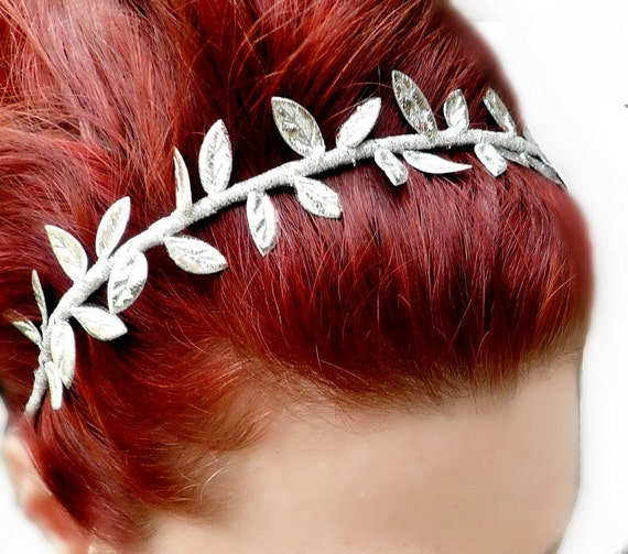 Sale 10% Off Grecian Goddess Silver Leaf Crown Headband - Greek