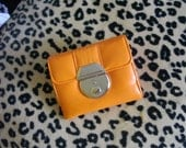 PRICE REDUCED LAST CHANCE- Retro Vintage Orange Leather Wallet - TEENY TINY, yet holds A LOT - RARE FIND